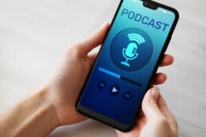 Business podcast on mobile phone