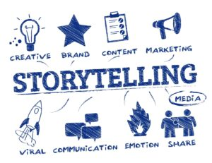 The word 'storytelling' is in big letters, with aspects of storytelling around it, such as 'brand', 'content' and 'communication. Social media marketing.
