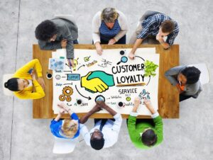 People sit around a table with a poster in the middle that they are looking at and pointing to. The poster says customer oyalty, with arrows pointing to other images and words.