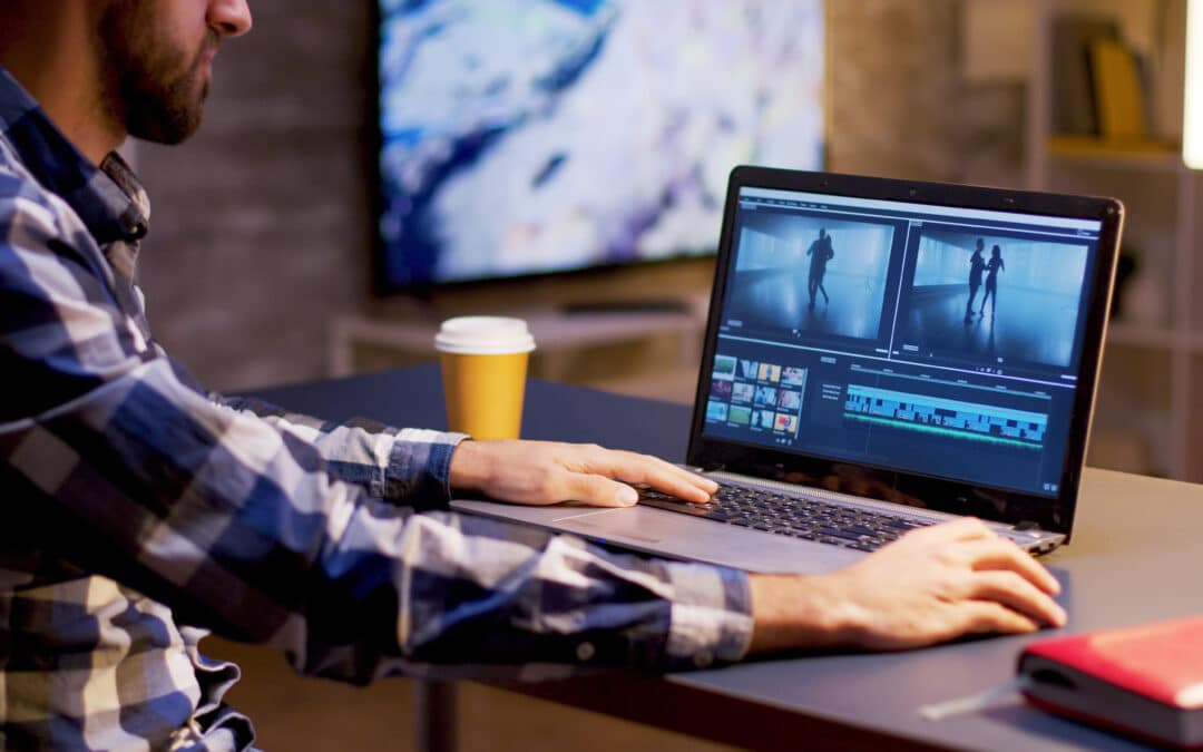 person working on video production editing
