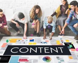 Team strategizing their content marketing efforts