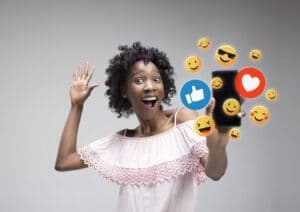 Woman engaging with her audience on social media